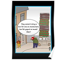 Two for one beer offer cartoon humour card Poster