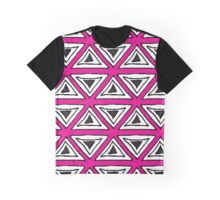 Black, White and Pink Triangle Geo Pattern Graphic T-Shirt