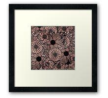 Floral Rose Gold Flowers and Leaves Drawing Black Framed Print