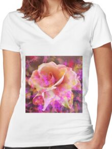 Rose Abstract Women's Fitted V-Neck T-Shirt