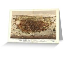 Vintage Pictorial Map of San Francisco (1878)  Greeting Card