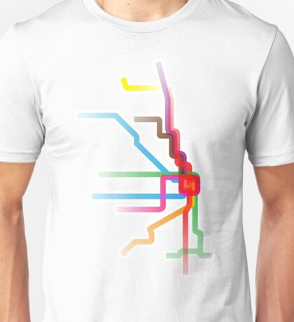 Chicago CTA Rainbow Map Unisex T-Shirt