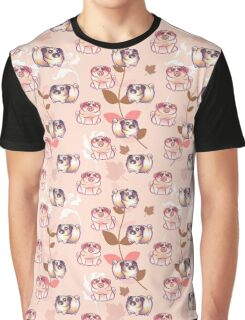 Pink Leaf Pug Pattern Graphic T-Shirt