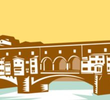 Arch Bridge Ponte Vecchio Florence Woodcut Sticker