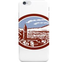 Church Belfry Tower Tuscany Italy Woodcut iPhone Case/Skin
