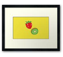Strawberry Kiwi Pattern Framed Print