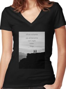 What a shame we all became such fragile broken things Women's Fitted V-Neck T-Shirt