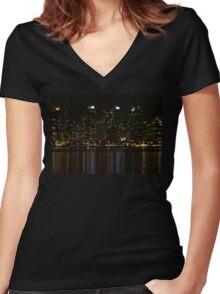 San Diego Skyline Night Women's Fitted V-Neck T-Shirt