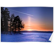 Sun pillar and contrails Poster