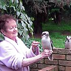 Kookaburras visiting for breakfast. by Bev Pascoe
