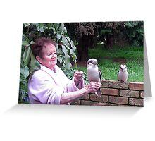Kookaburras visiting for breakfast. Greeting Card