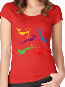 Rainbow silhouette sighthounds! Women's Fitted Scoop T-Shirt