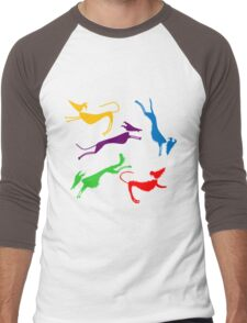 Rainbow silhouette sighthounds! Men's Baseball ¾ T-Shirt