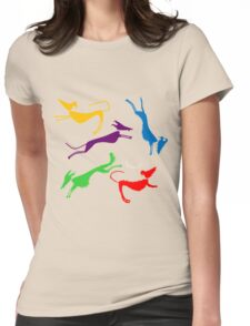 Rainbow silhouette sighthounds! Womens Fitted T-Shirt