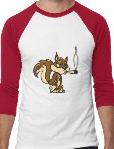 Eichhörmchen witzig kiffen joint  Men's Baseball ¾ T-Shirt