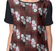 Cherry Blossoms on Red Chiffon Top