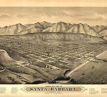 Vintage Pictorial Map of Santa Barbara CA (1877) by BravuraMedia