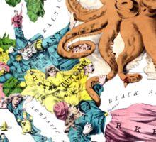 Vintage Political Cartoon Map of Europe (1877) Sticker