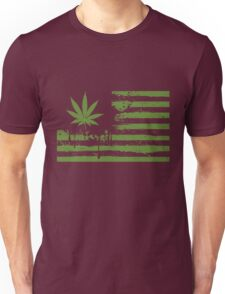 Distressed Flag - Weed Unisex T-Shirt
