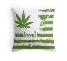 Distressed Flag - Weed Throw Pillow