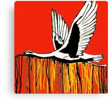 Flight of the Egret Red Canvas Print