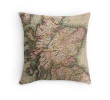Vintage Map of Scotland (1814)  Throw Pillow