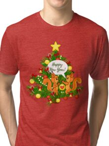 Christmas squirrel and christmas tree. Happy New Year. Tri-blend T-Shirt
