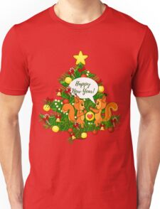 Christmas squirrel and christmas tree. Happy New Year. Unisex T-Shirt