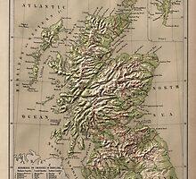 Vintage Physical Map of Scotland (1880) by BravuraMedia