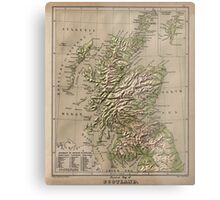 Vintage Physical Map of Scotland (1880) Metal Print