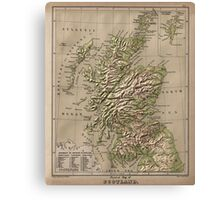Vintage Physical Map of Scotland (1880) Canvas Print