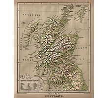 Vintage Physical Map of Scotland (1880) Photographic Print