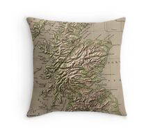 Vintage Physical Map of Scotland (1880) Throw Pillow