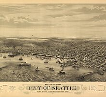 Vintage Pictorial Map of Seattle (1878) by BravuraMedia