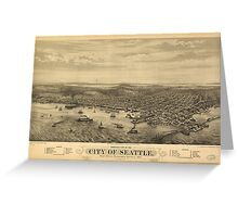 Vintage Pictorial Map of Seattle (1878) Greeting Card
