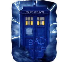 Blue Police Public Call Box  Photographic Print