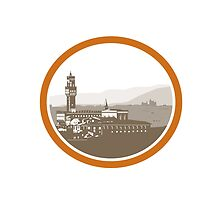 Tower of Palazzo Vecchio Florence Woodcut by patrimonio