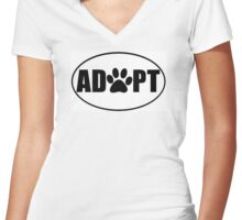 ADOPT pet sticker Women's Fitted V-Neck T-Shirt