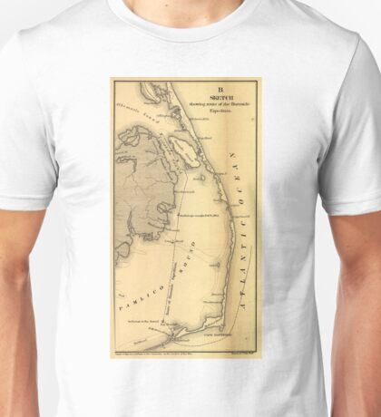 Vintage Map of The Outer Banks (1862) Unisex T-Shirt