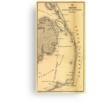 Vintage Map of The Outer Banks (1862) Canvas Print