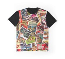 Classic 1950s Monster Movie Poster Pattern Graphic T-Shirt