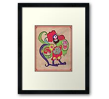 Chinese Zodiac Year of The Rooster Papercut Framed Print