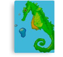 Green Seahorse Canvas Print
