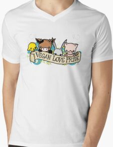 Vegan Love Pride Mens V-Neck T-Shirt
