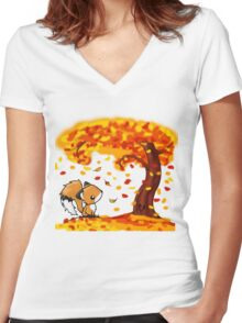 Fox in the Fall Women's Fitted V-Neck T-Shirt