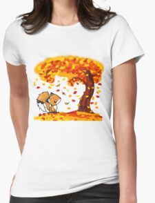Fox in the Fall Womens Fitted T-Shirt