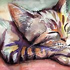 Cute Sleeping Kitten Watercolor by OlechkaDesign