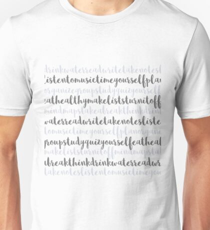Friendly Study Reminders and Tips Unisex T-Shirt