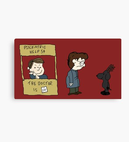 THE DOCTOR IS IN - Hannibal & Peanuts Crossover Art Canvas Print
