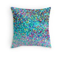 Aqua Blue Multicolored Abstract Art Shapes Pattern Throw Pillow